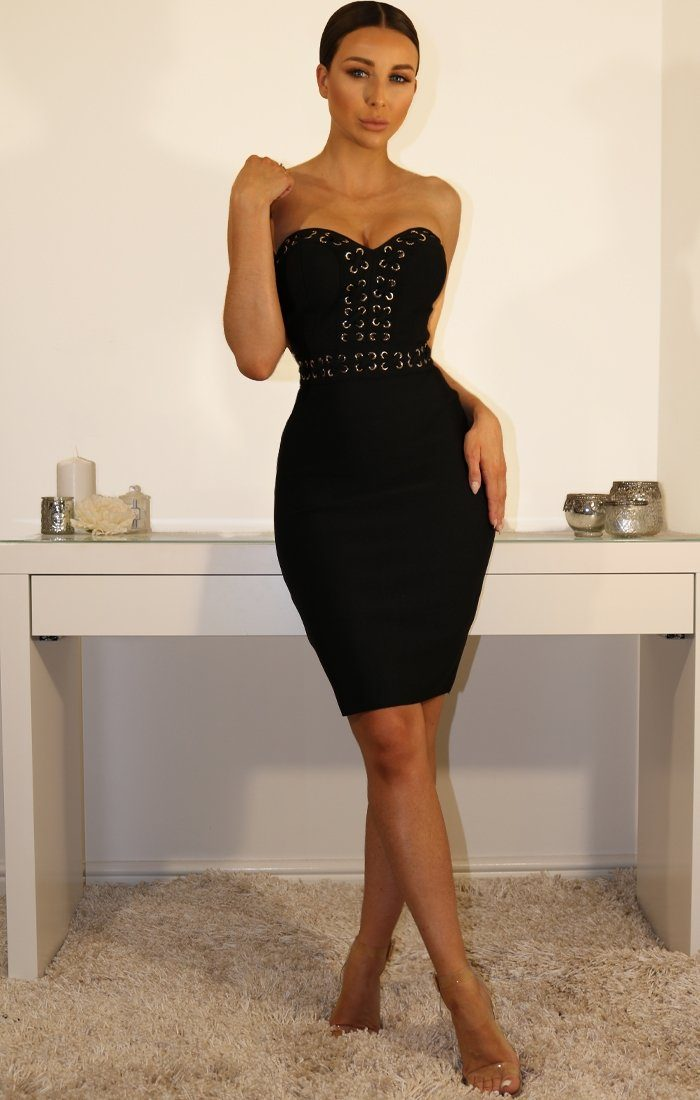 Black Eyelet Bandeau Bodycon Bandage Dress