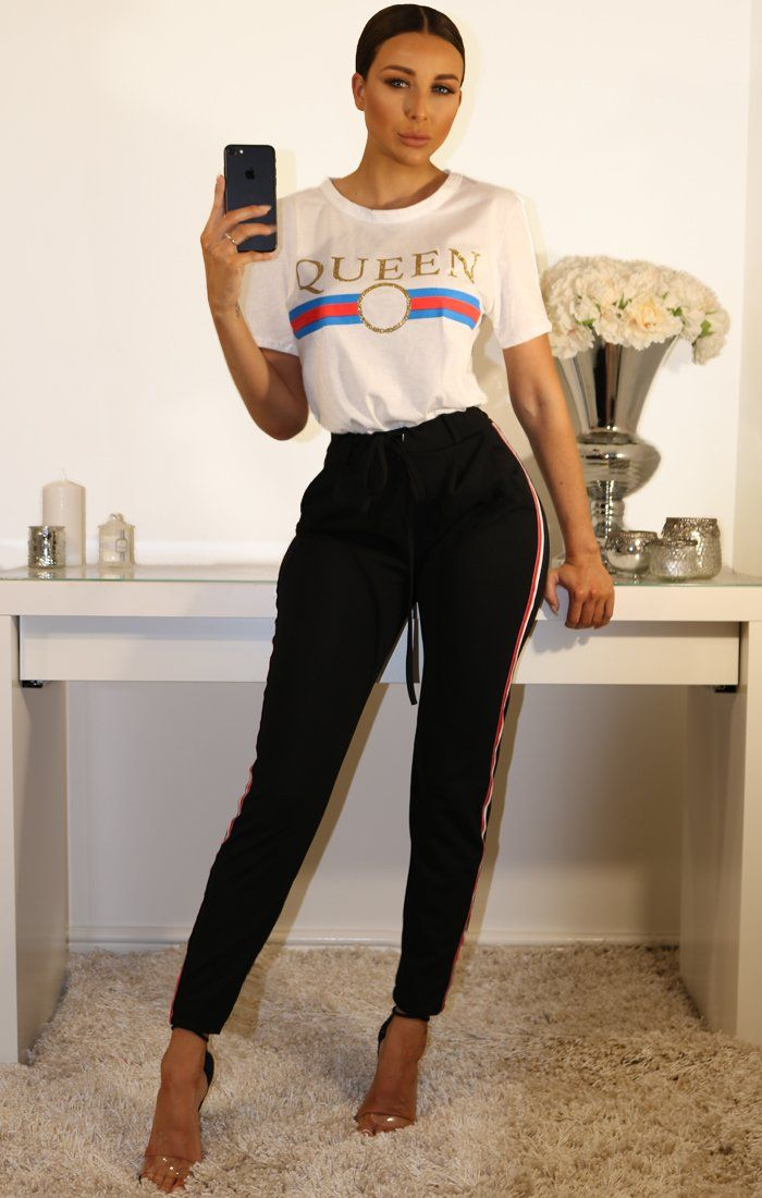 Black High Waist Striped Trousers