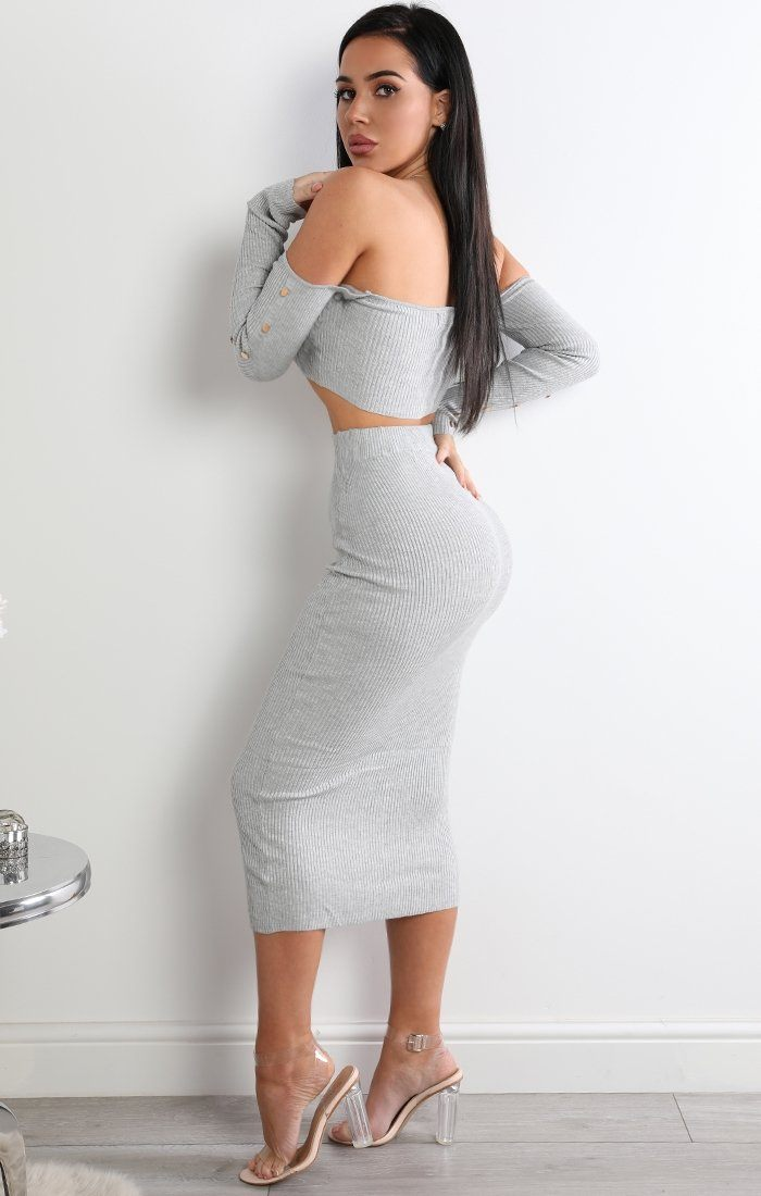 Grey Button Detail Two Piece Co-ord Set