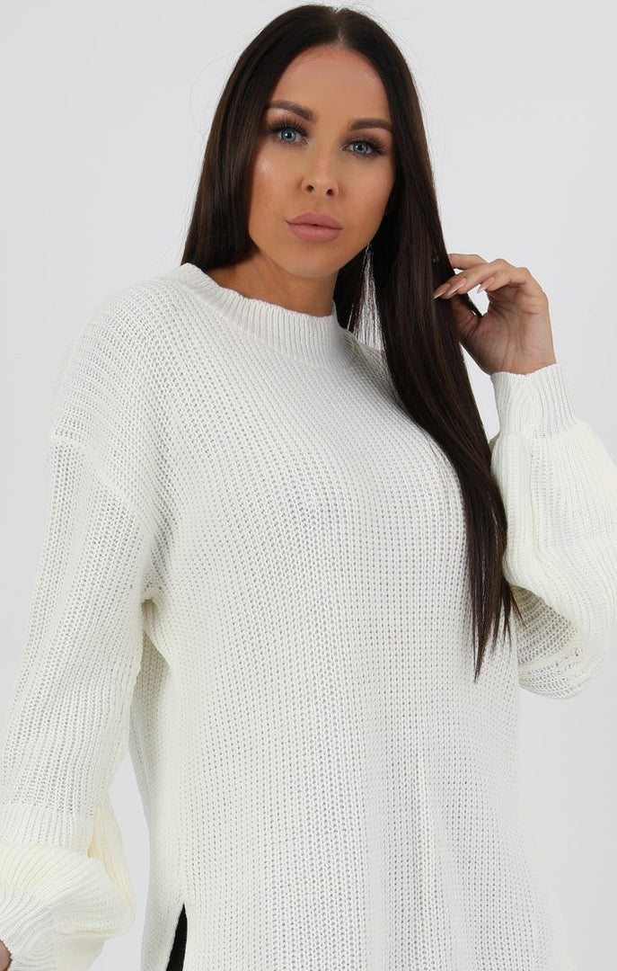 647a0378d0d4b0 Cream Oversized Split Side Knitted Jumper - Leah