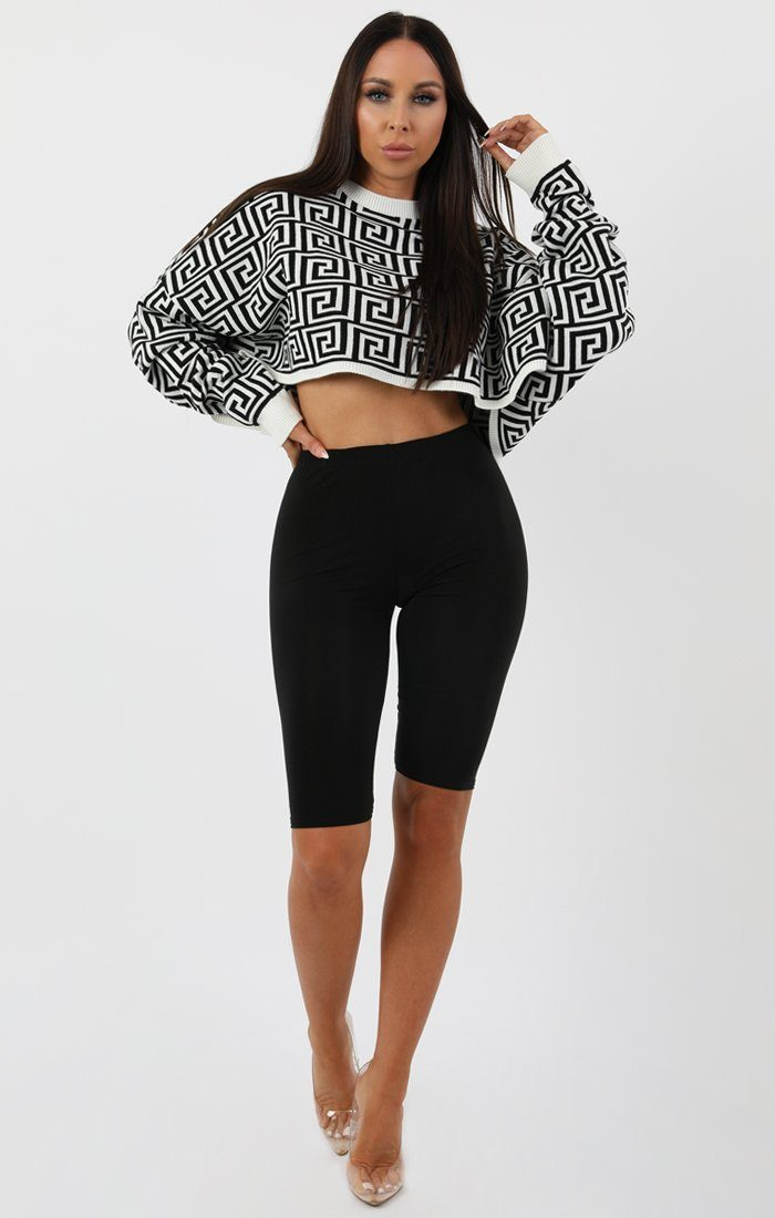 White Black Long Sleeve Crop Jumper - Sienna jumper FemmeLuxe