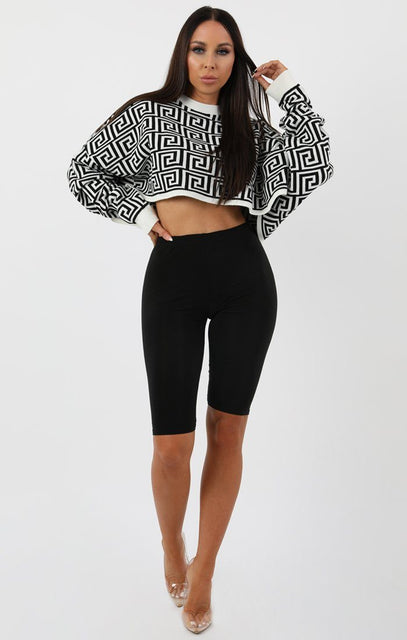 White Black Long Sleeve Crop Jumper - Sienna