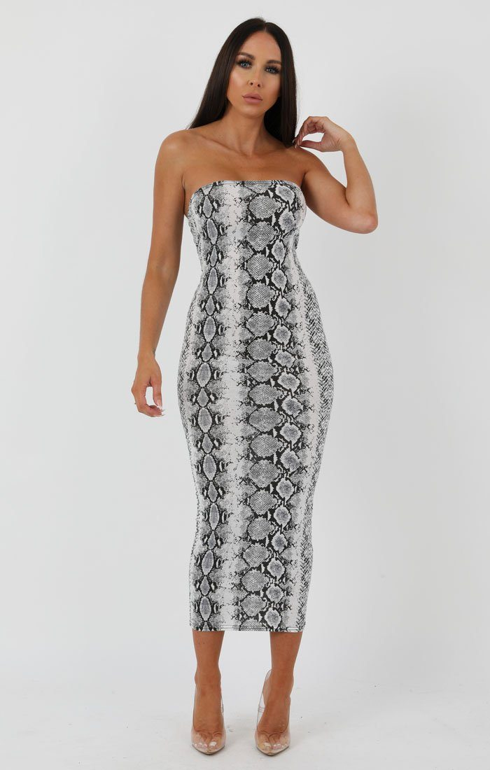 Animal Snake Print Bandeau Bodycon Midi Dress - Ariana