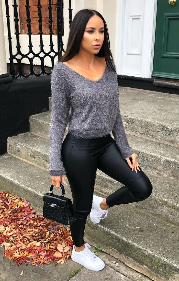 Grey Fluffy Long Sleeve Crop Jumper - Jada sale FemmeLuxe
