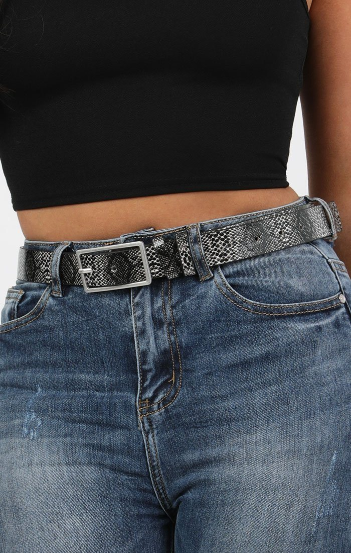Black Animal Snake Print Square Buckle Belt - Polly