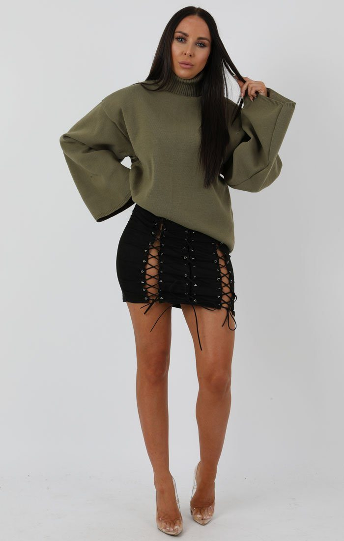 Khaki Extreme Polo Neck Oversized Jumper - Amber