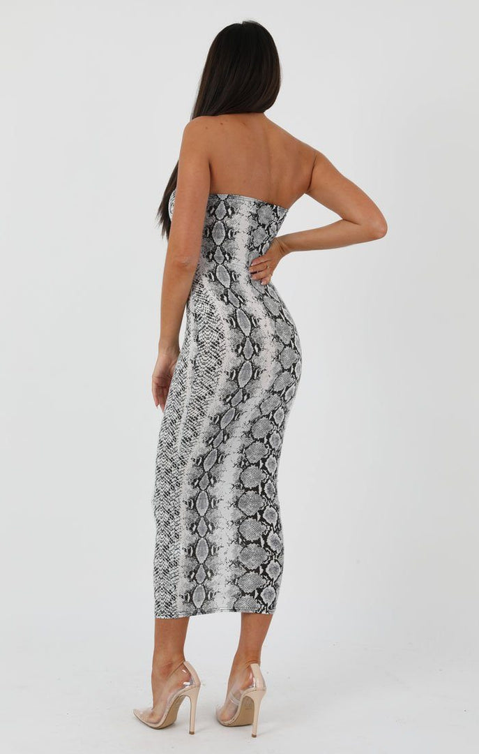 Animal Snake Print Bandeau Bodycon Midi Dress - Ariana sale FemmeLuxe