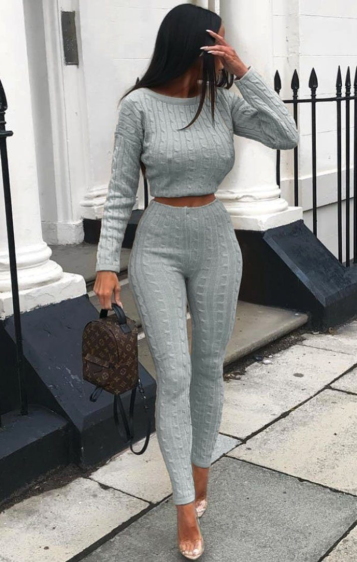 Grey Cable Knit Loungewear Set - Alison loungewear FemmeLuxe