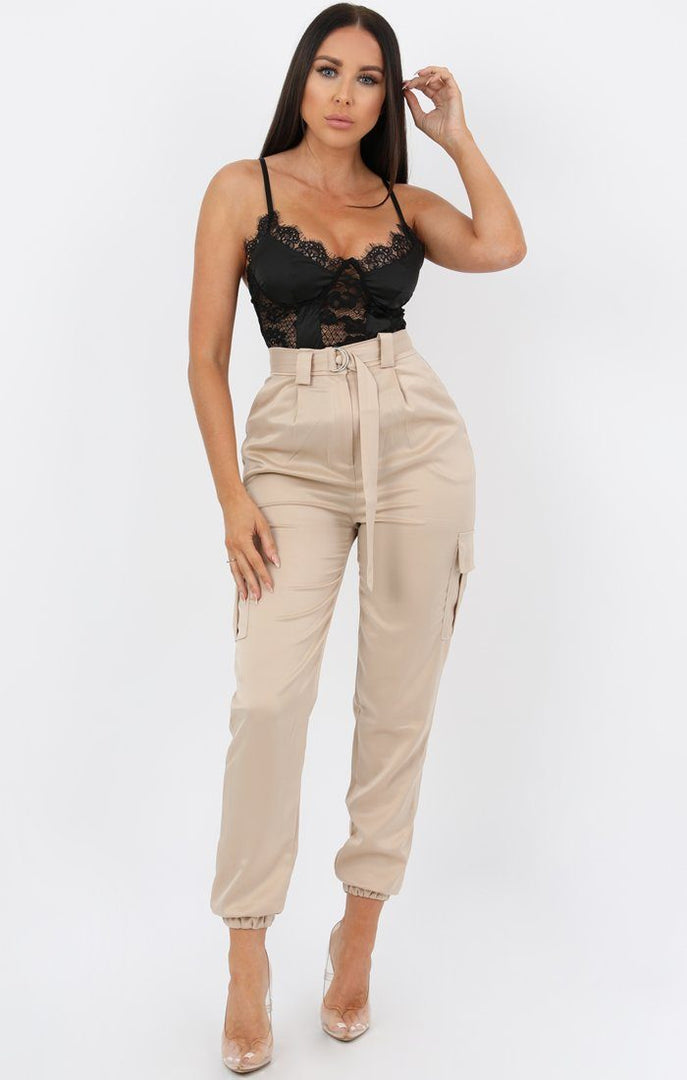 Champagne Belted Cargo Satin Cigarette Trousers - Athenea