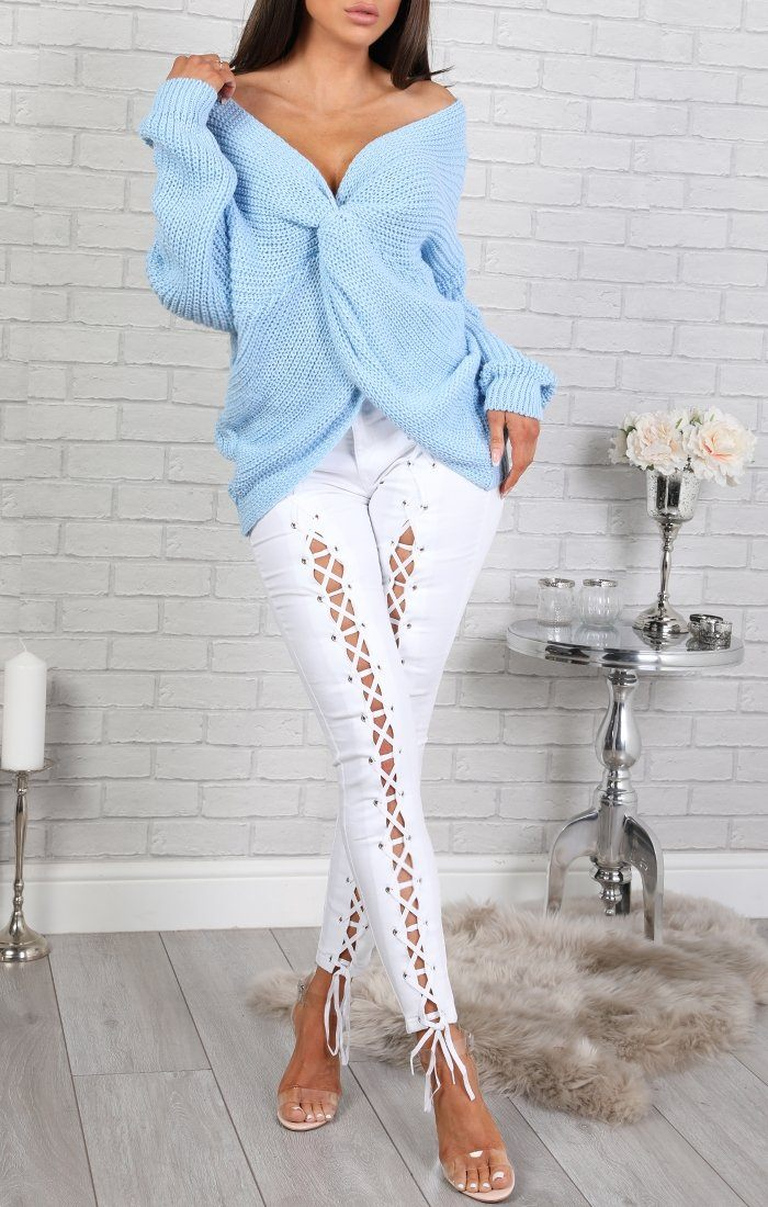 White Lace Up Front Jeans - Jade