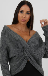 Charcoal Front Wrap Knitted Jumper