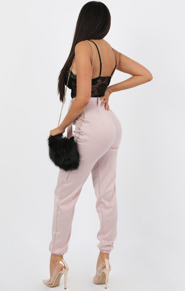 Rose Belted Cargo Satin Cigarette Trousers - Athenea