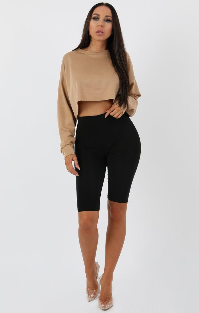 Camel Crop Sweater Jumper - Angelica sale FemmeLuxe