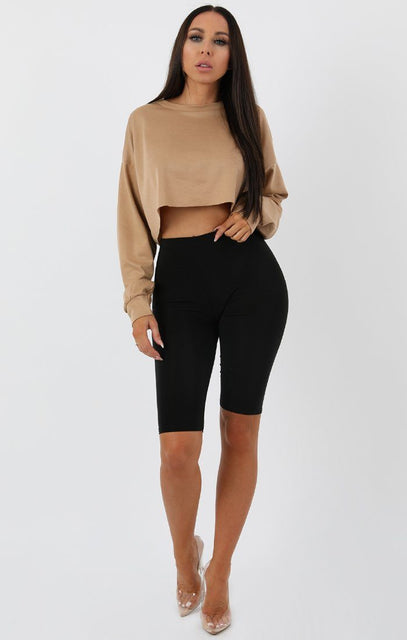 Camel Crop Sweater Jumper - Angelica