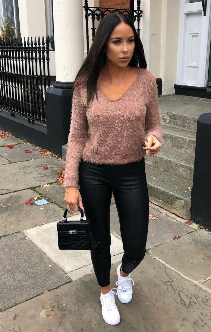 Rose Fluffy Long Sleeve Crop Jumper - Jada sale FemmeLuxe