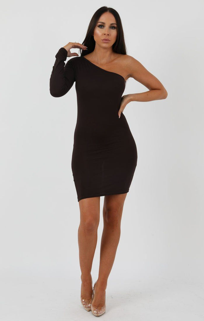 Brown One Shoulder Bodycon Dress - Rosa