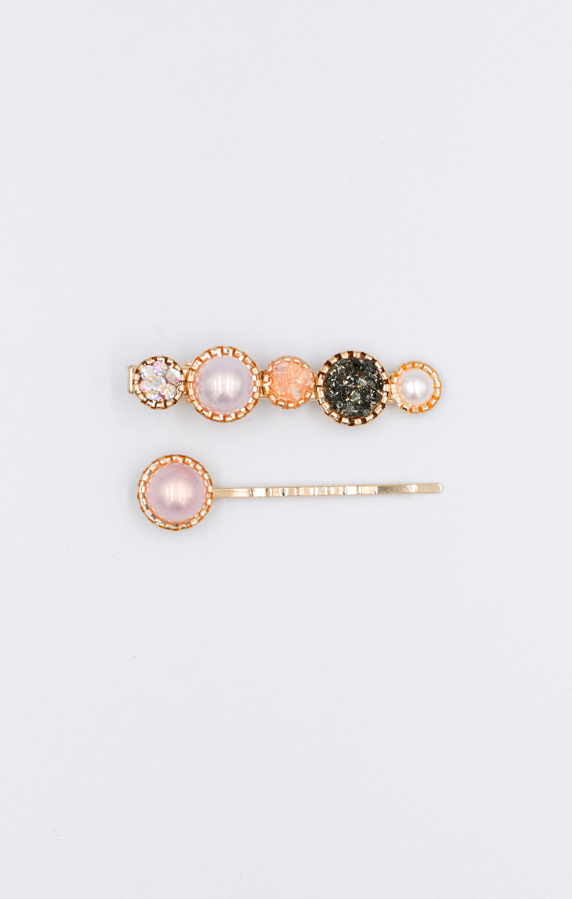 Gold Pearl Diamante Two Pack Hair Clips - Esme