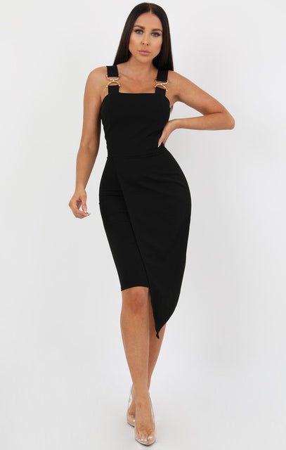 Black Buckle Detail Bodycon Dress - Bella