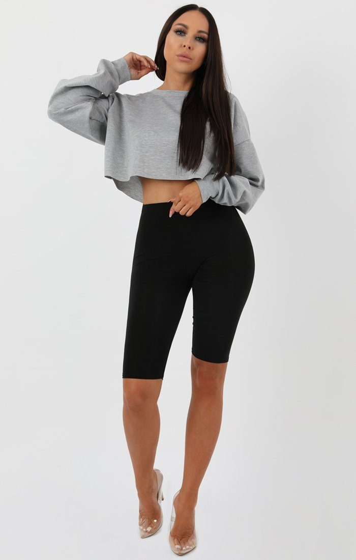 Grey Crop Sweater Jumper - Angelica sale FemmeLuxe
