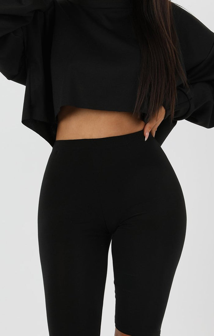 Black Crop Sweater Jumper - Angelica