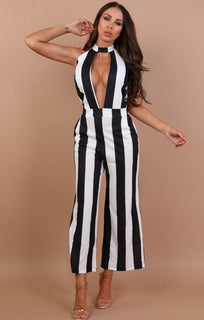 Black-striped-choker-plunge-jumpsuit-Leona