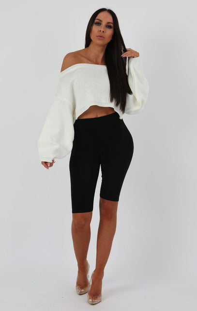 White Oversized Crop Knit Jumper - Toni