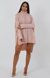 Rose Chunky Cable Knit Split Side Jumper Dress - Kacey dresses FemmeLuxe