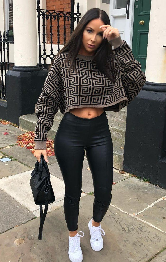 Brown Black Long Sleeve Crop Jumper - Sienna jumper FemmeLuxe