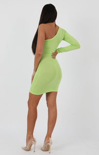 Lime One Shoulder Bodycon Dress - Rosa