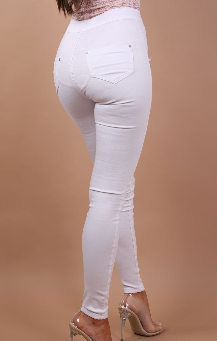 White Distressed Skinny Jeans - Rose