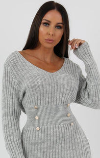 Grey Ribbed Knit Bodycon Dress With Button Detail - Lauryn