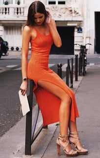 Orange Cami Knitted Side Split Maxi dress - Thea Knitwear FemmeLuxe