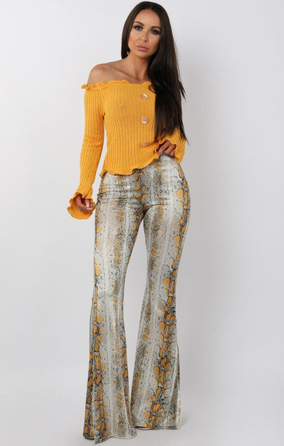 Yellow Animal Snake Print Fit and Flare Trousers - Alana
