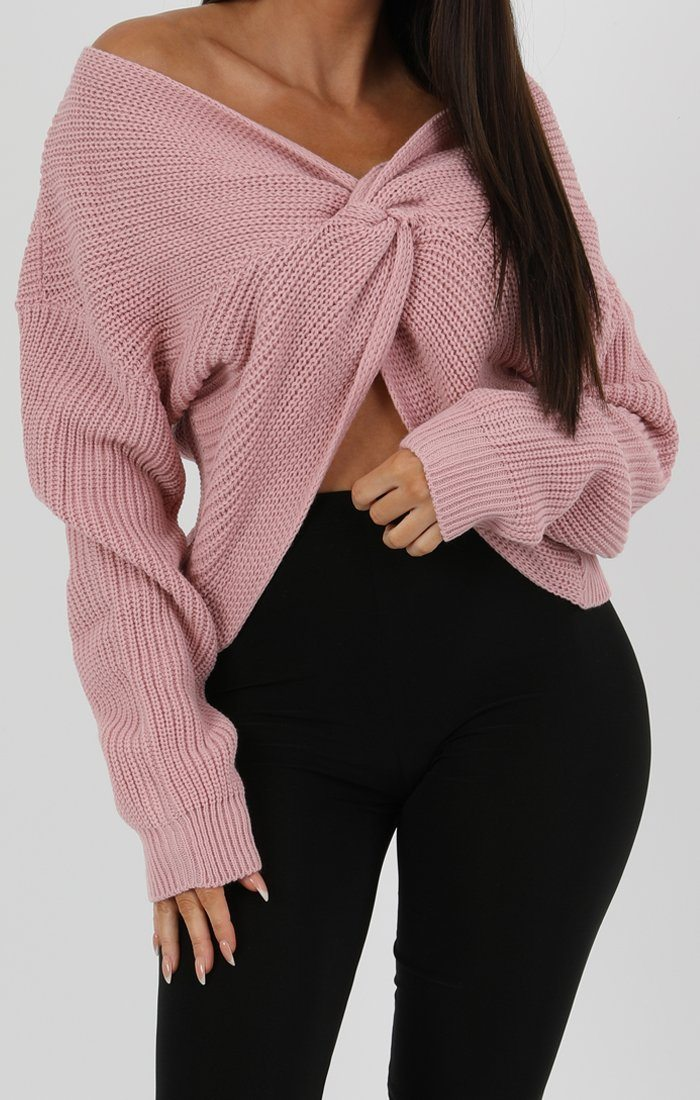 Rose Front Wrap Knitted Jumper
