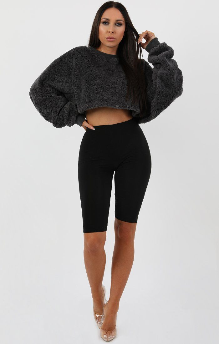 Charcoal Fluffy Crop Jumper - Marina