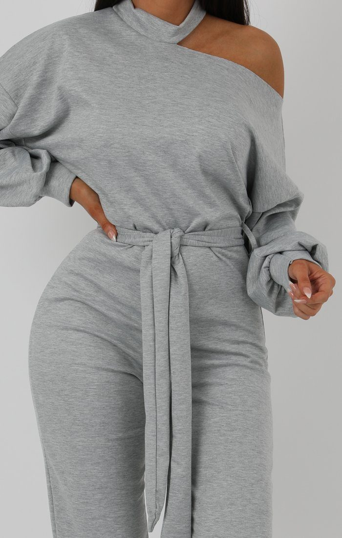 Grey Cold Shoulder Long Sleeve Jumpsuit - Hattie