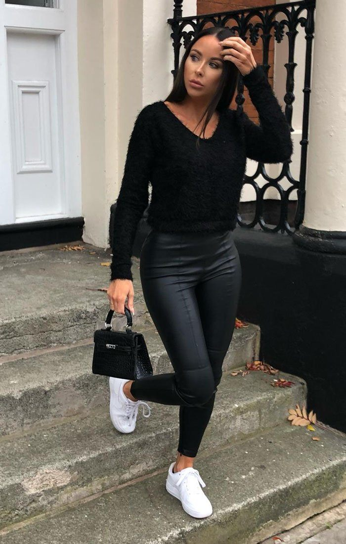 Black Fluffy Long Sleeve Crop Jumper - Jada sale FemmeLuxe