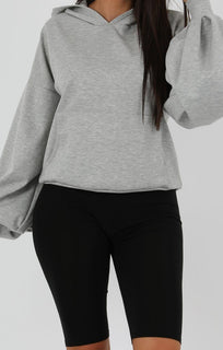 Grey Flare Cuff Sleeve Hooded Jumper - Tracey
