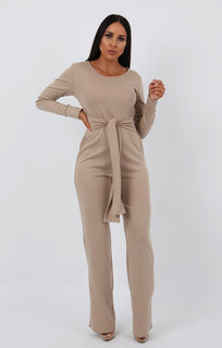 Stone Long Sleeve Flare Jumpsuit - Hariette jumpsuits FemmeLuxe