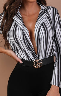 Black-and-White-Stripe-Plunge-Flare-Bodysuit