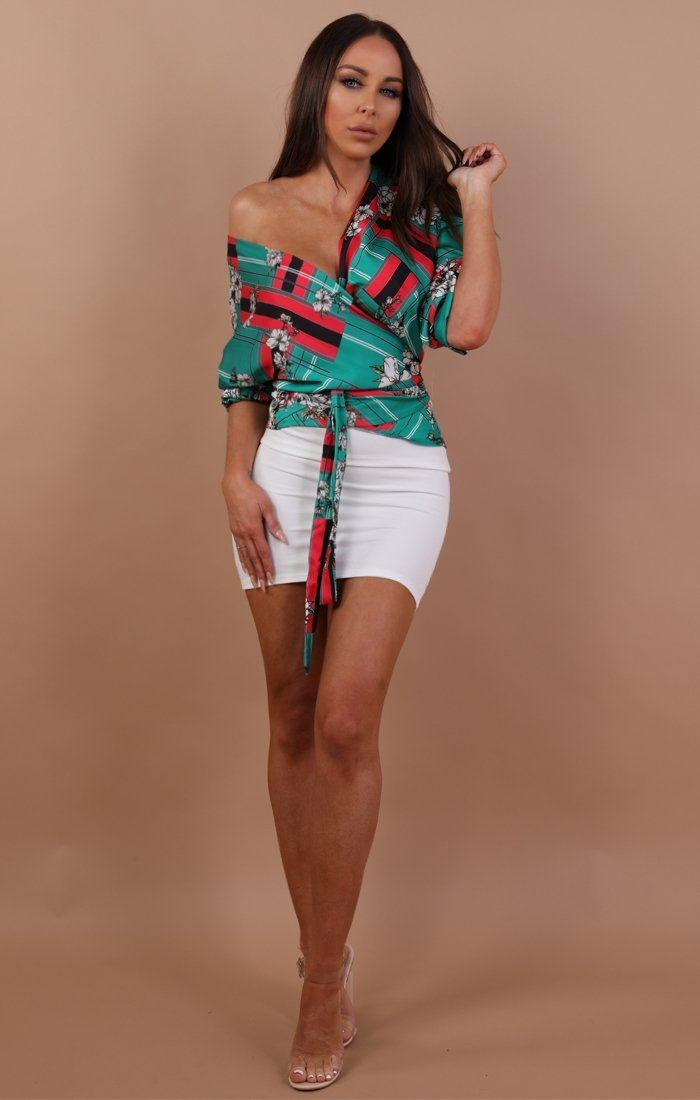Green Floral Stripe Ruched Sleeve Wrap Top - Lorene