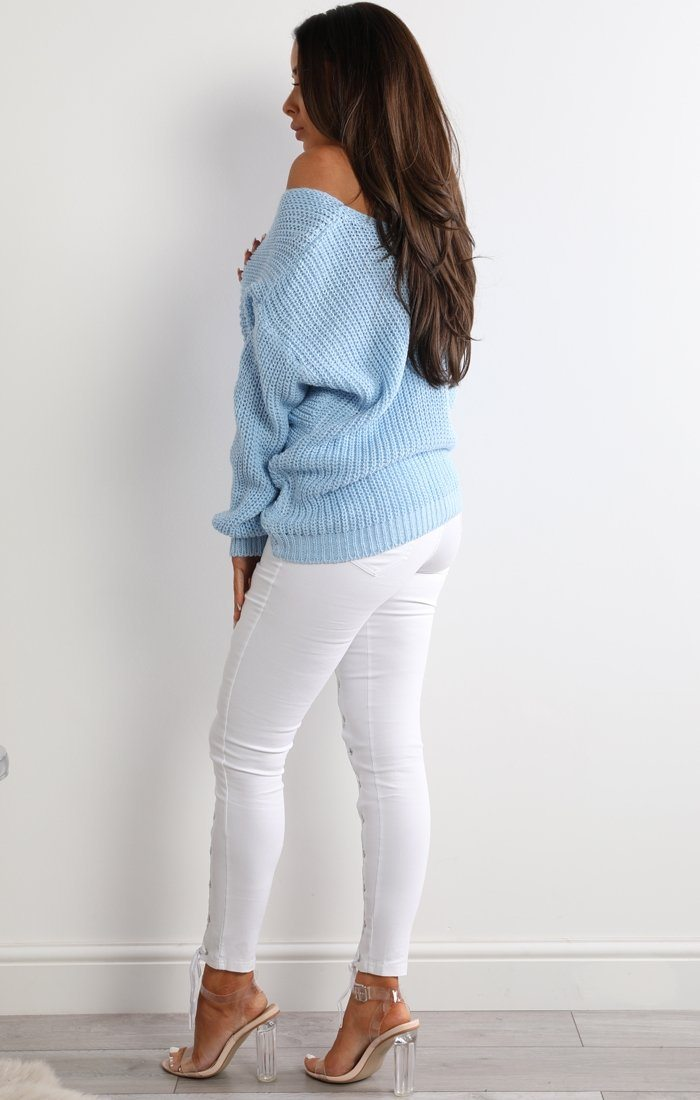 Pale Blue Front Wrap Knitted Jumper - Amy