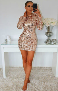 ROSE SEQUIN FULL SLEEVE BODYCON DRESS
