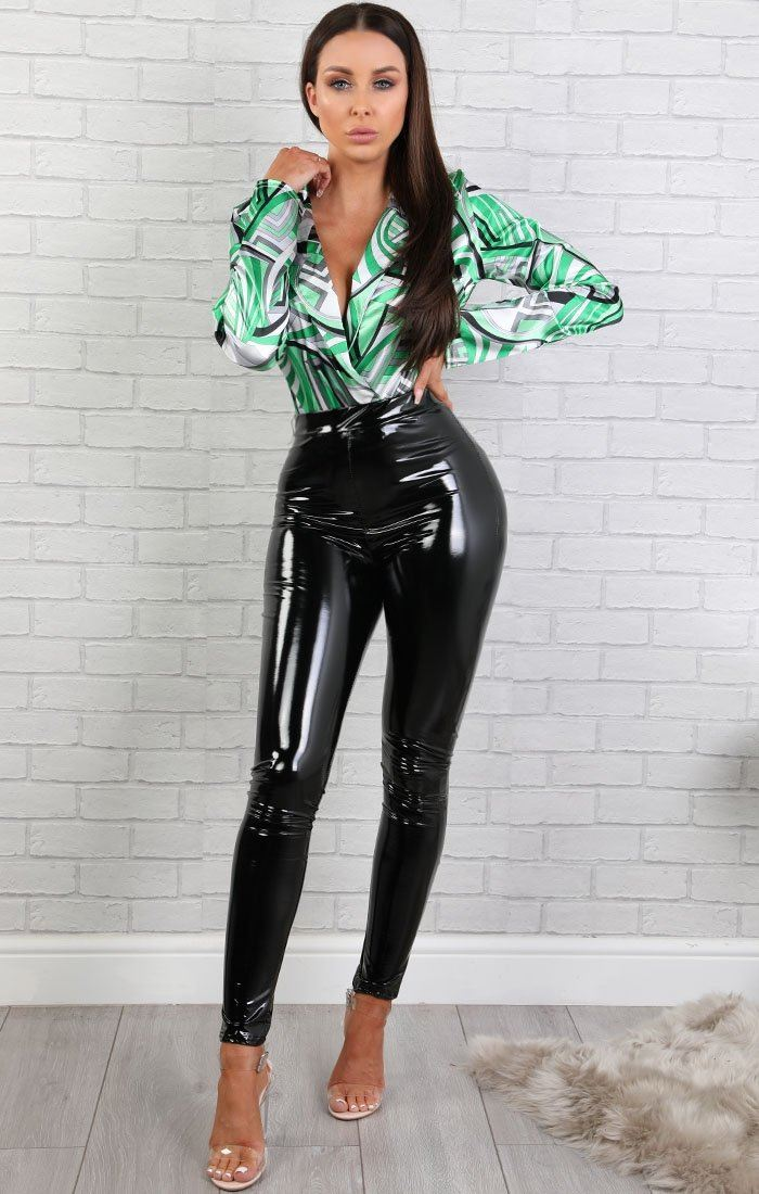 Green Pattern Satin Bodysuit - Iona