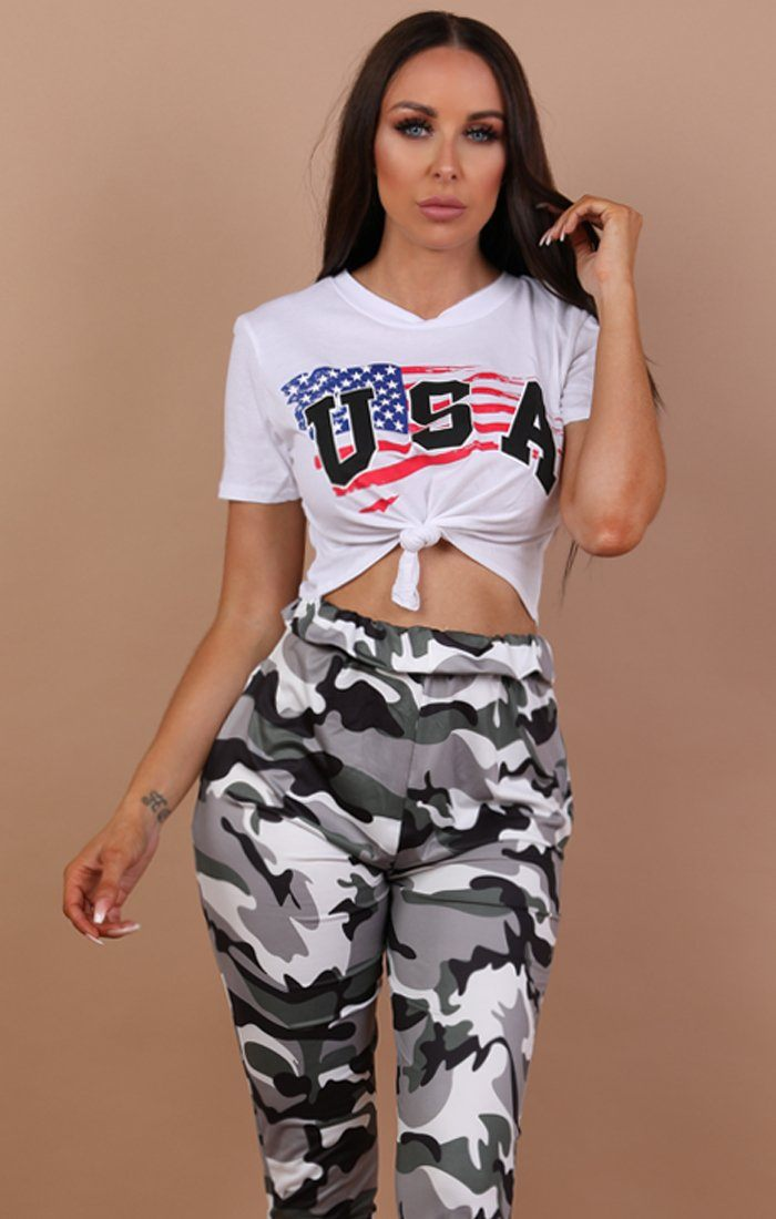 White Usa Print Crop Top - Kendall