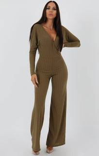 Khaki Ribbed Long Sleeved Plunge Jumpsuit - Cassie
