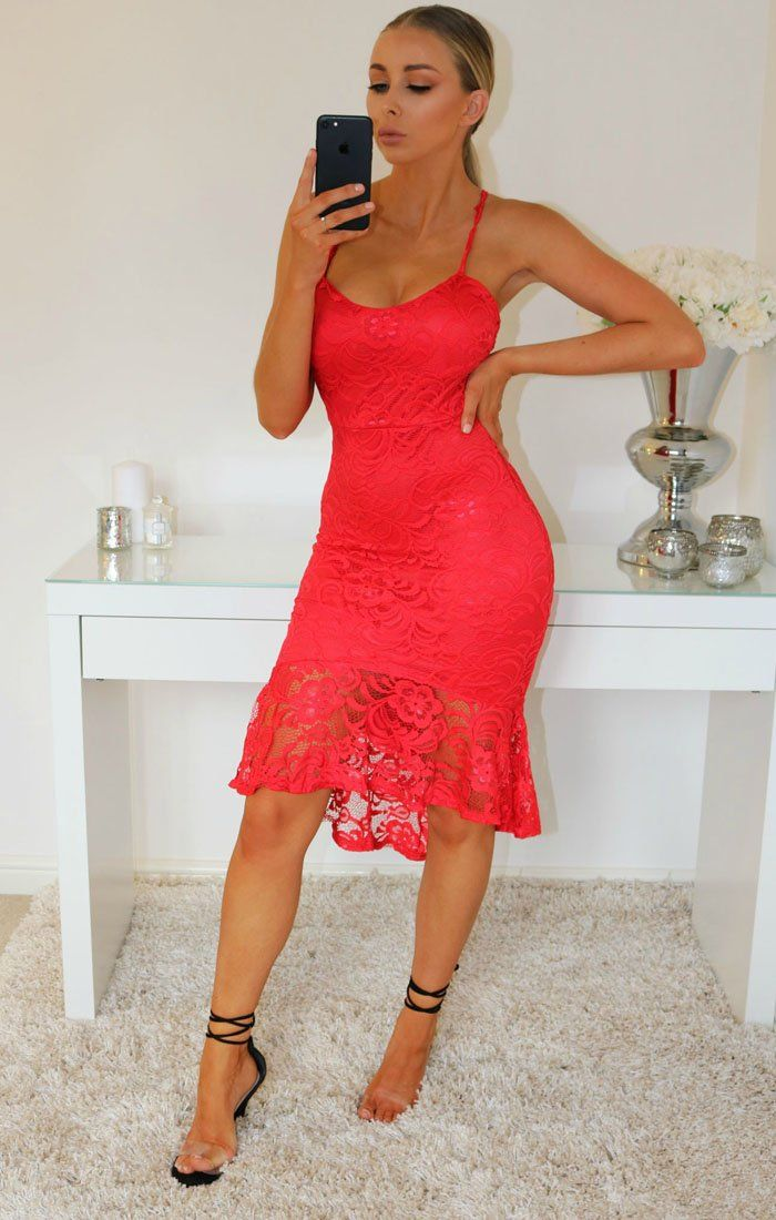 Red Strappy Lace Frill Hem Bodycon Dress
