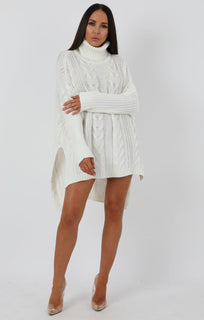 Cream Chunky Cable Knit Split Side Jumper Dress - Kacey