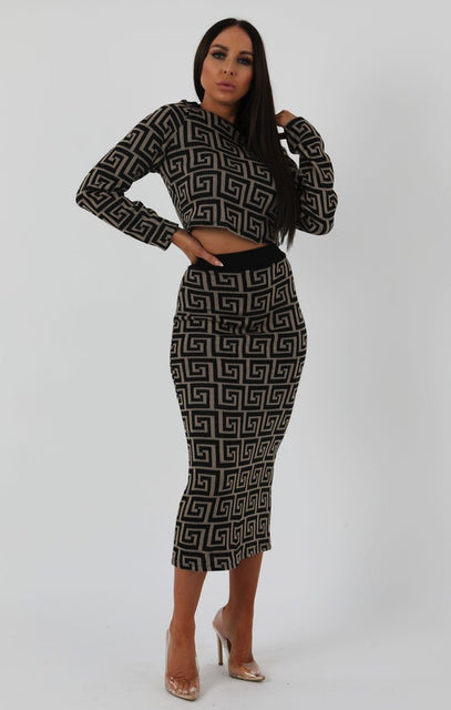 Stone Black Patterned Knit Co-ord Set - Freya
