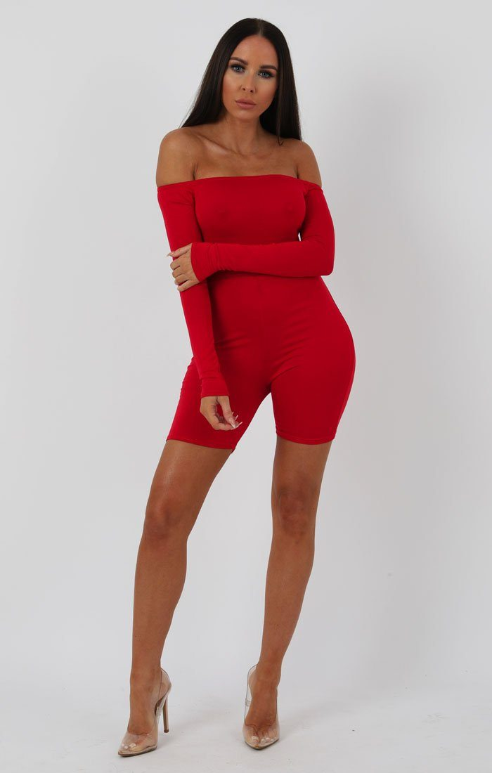 Red Long Sleeve Bardot Playsuit - Lana